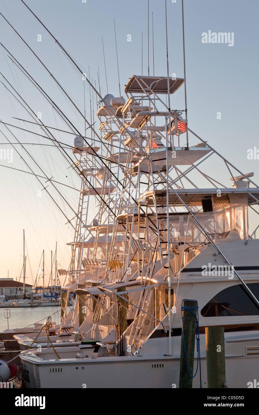 Pesca sportiva barche ormeggiate, Immagini Stock