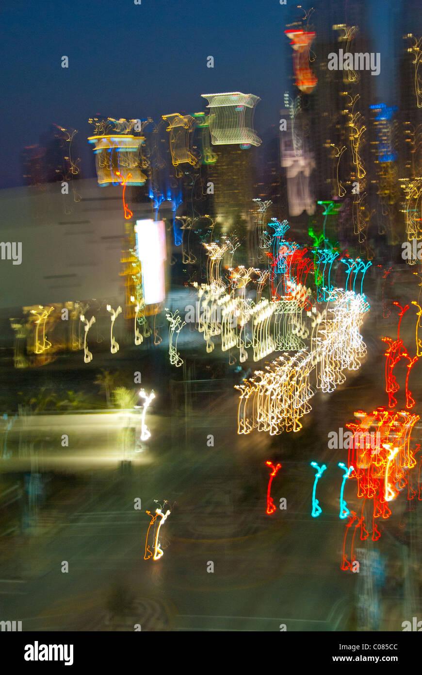 Abstract motion blur della skyline di Miami, Florida, Stati Uniti d'America Immagini Stock
