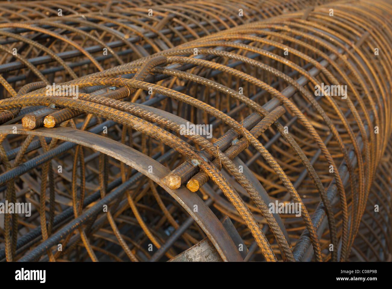 Maglia di filo, armatura per calcestruzzo di cemento Immagini Stock