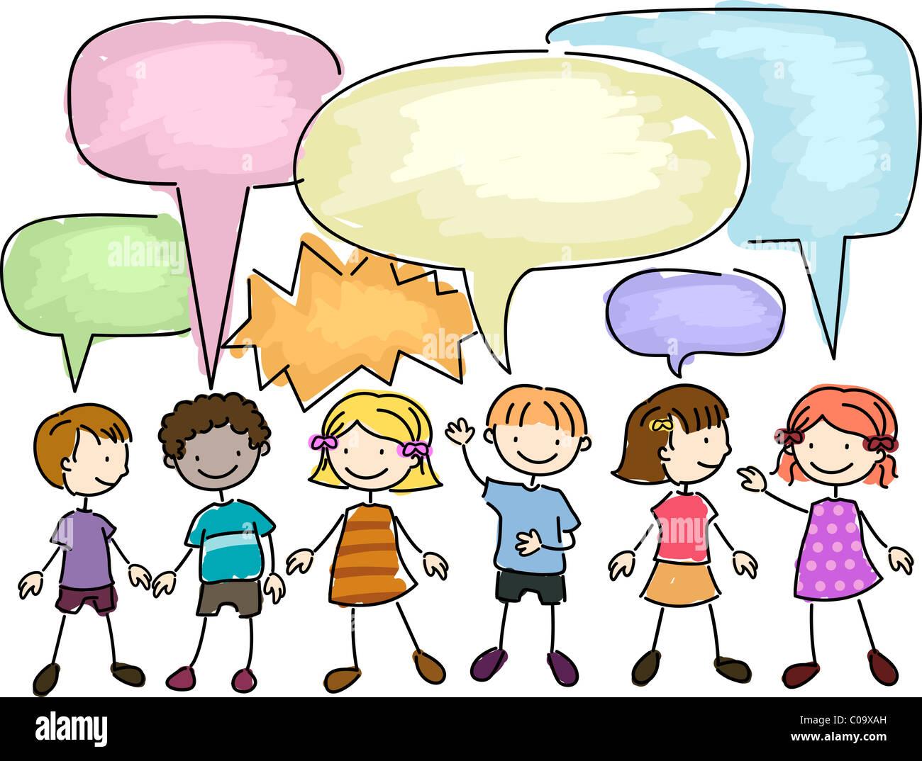 Illustrazione di un gruppo di ragazzi a parlare Immagini Stock