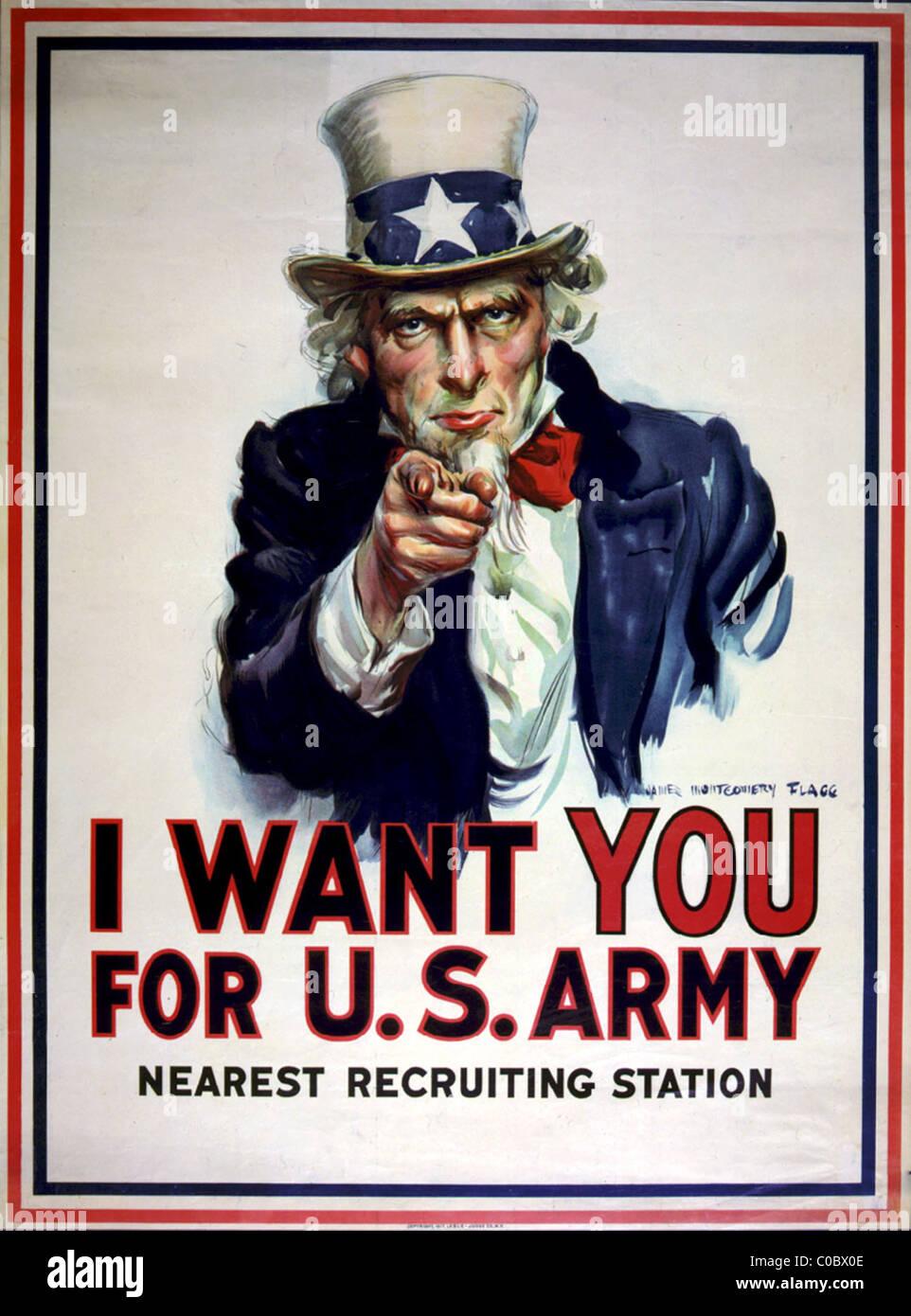 Lo zio Sam poster di reclutamento per gli Stati Uniti Esercito Immagini Stock