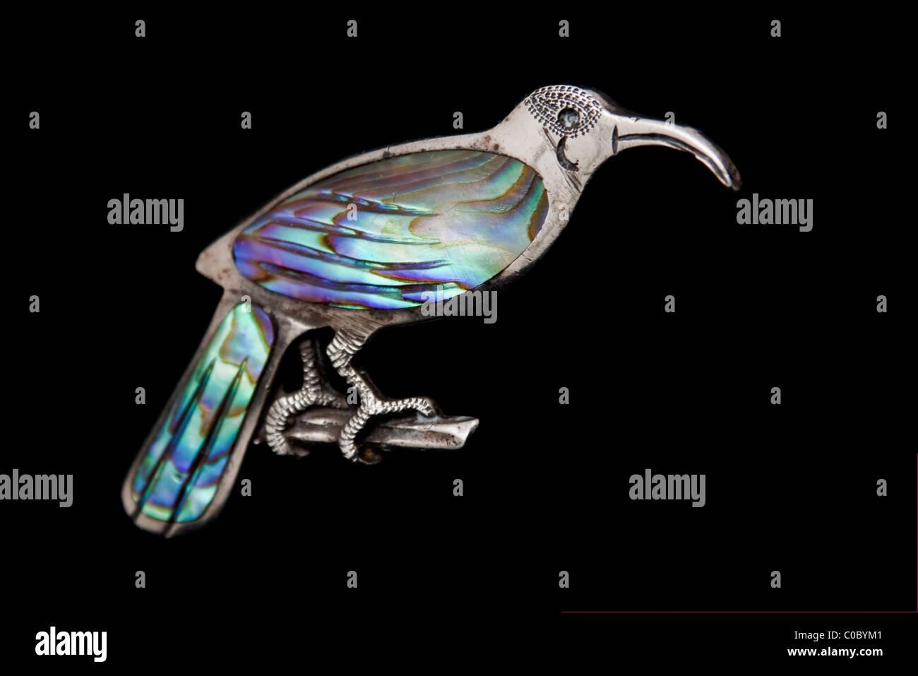 Raro Edwardian Sterling Silver spilla dell'uccello Huia (ora estinto) dalla Nuova Zelanda Foto Stock