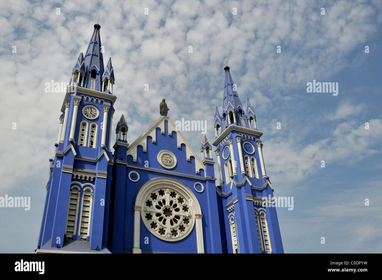 Chiesa blu, Parroquia de Los Sagrados, centro storico, Lima Peru Sud America Immagini Stock