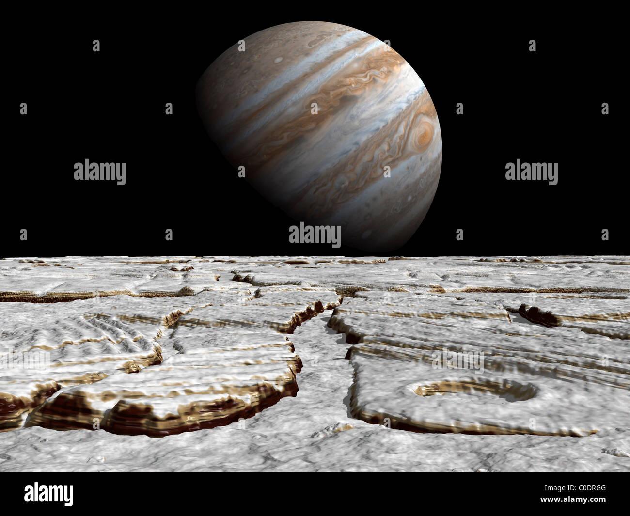 Artista del concetto di Giove come si vede attraverso la superficie ghiacciata della sua luna di Europa. Immagini Stock
