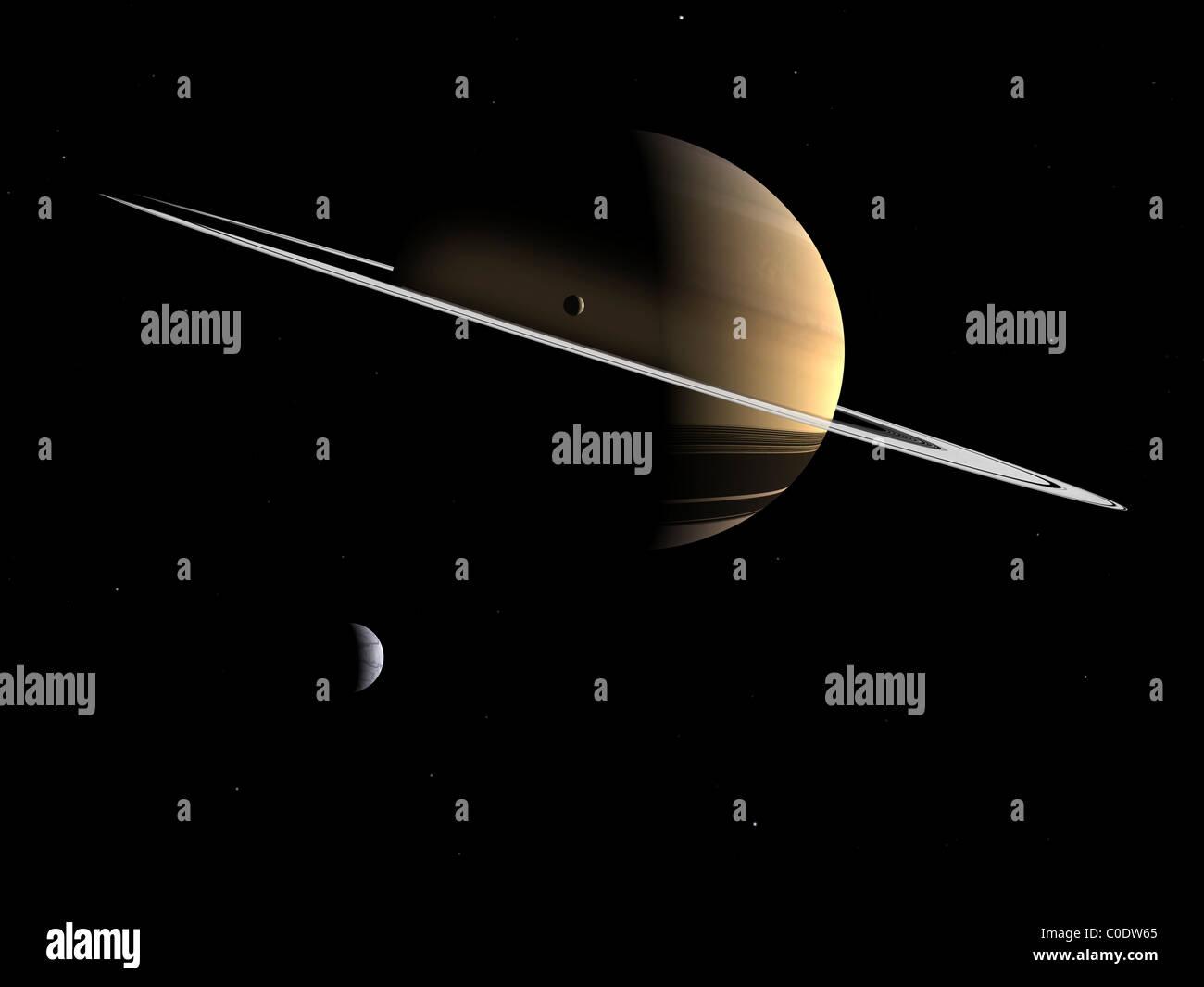 Artista del concetto di Saturno e le sue lune Dione e Tetide. Immagini Stock