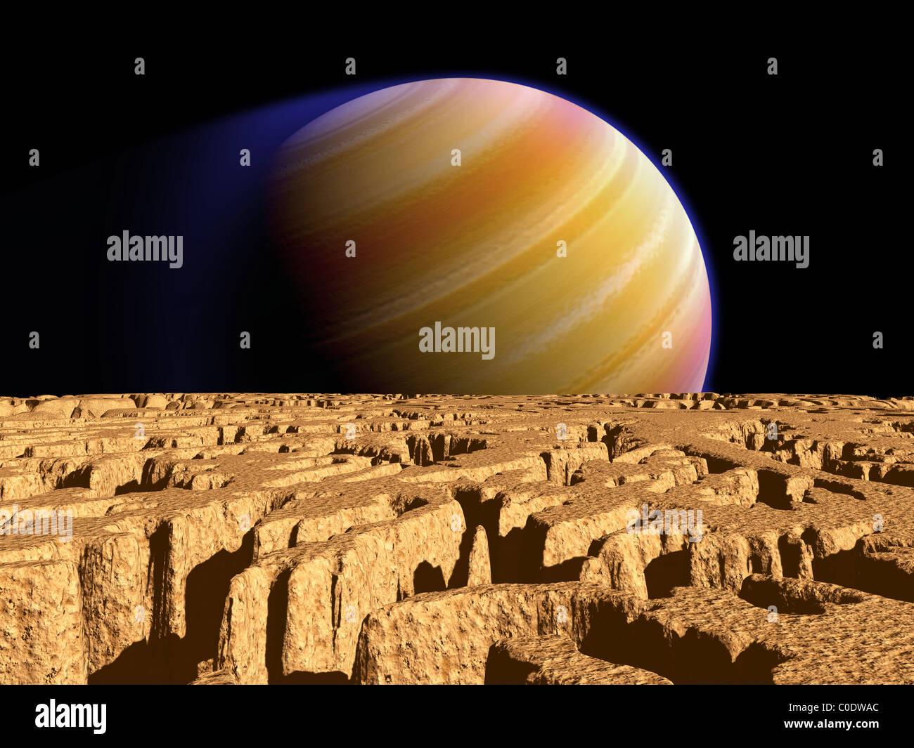 Artista del concetto di pianeta extrasolare Tau Bootis b su un ipotetico luna. Immagini Stock