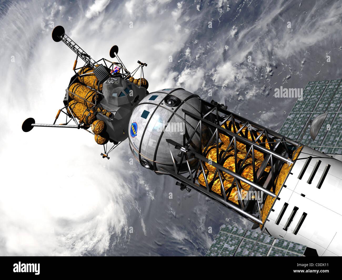 Artista del concetto di spazio di un rimorchiatore agganciato con un atterraggio lunare. Foto Stock