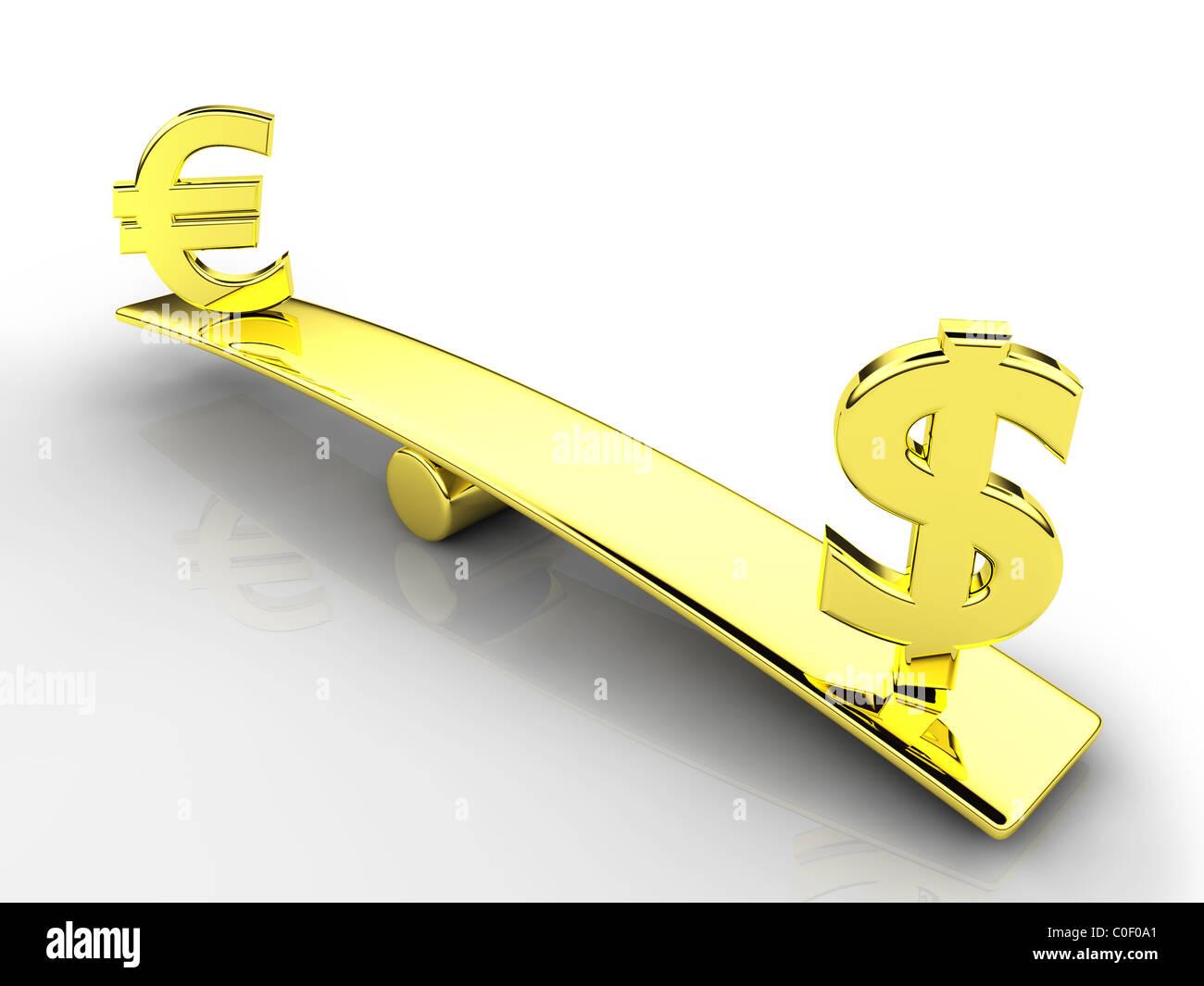 3d dollaro ed euro i simboli su una bilancia Immagini Stock