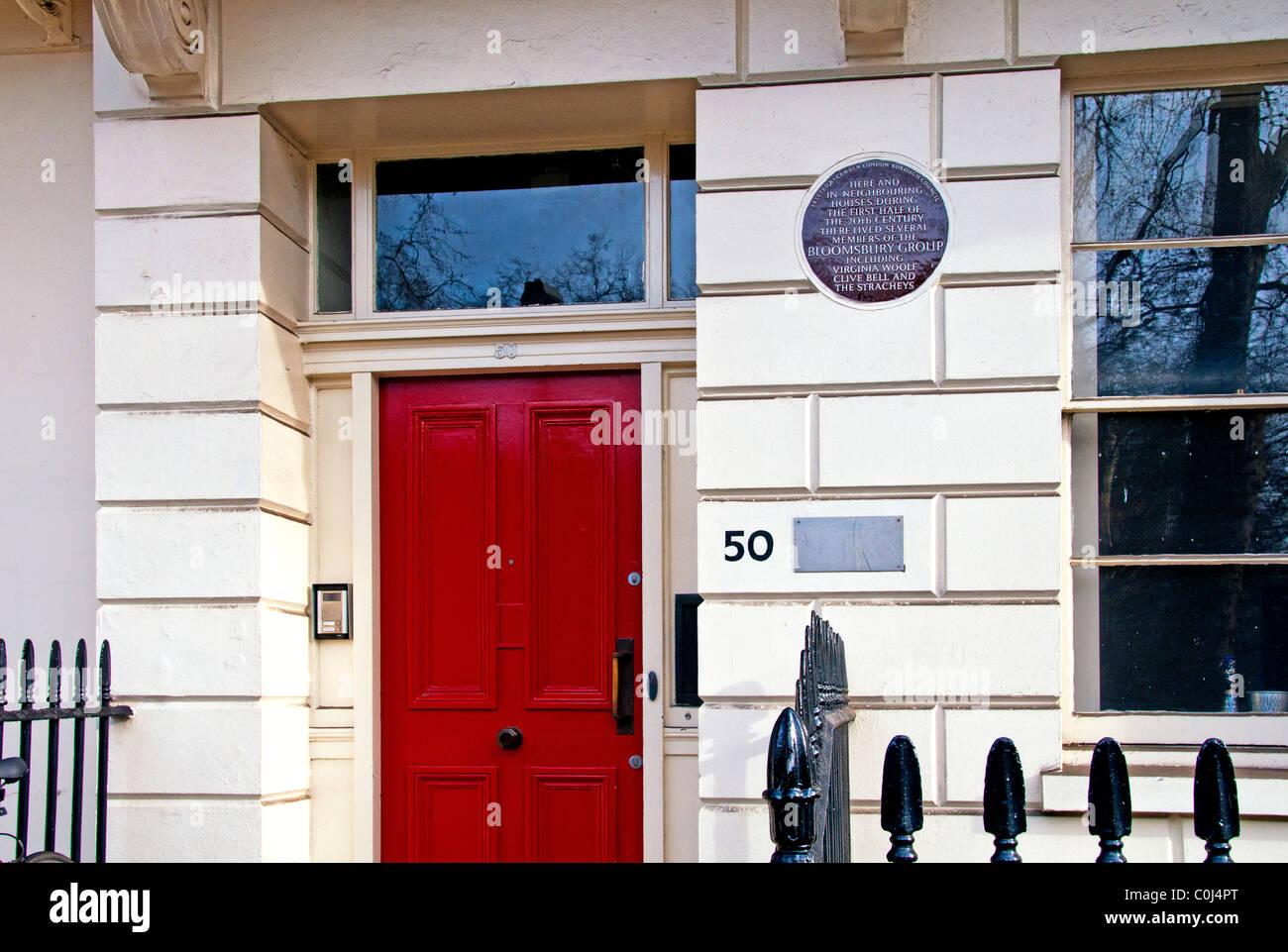 Case in Bloomsbury, Londra; Haus a Bloomsbury, Gordon Square, Wohnhaus der Bloomsbury Gruppe Foto Stock