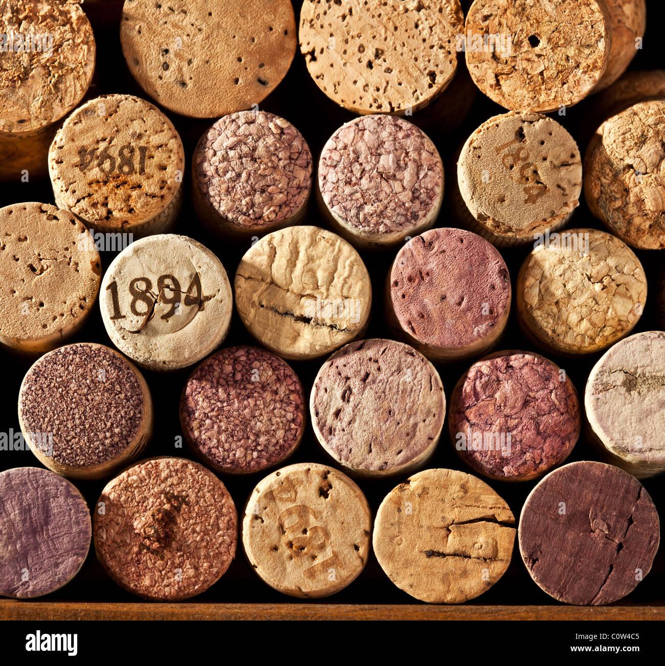 Immagine strettamente tappi vino Immagini Stock