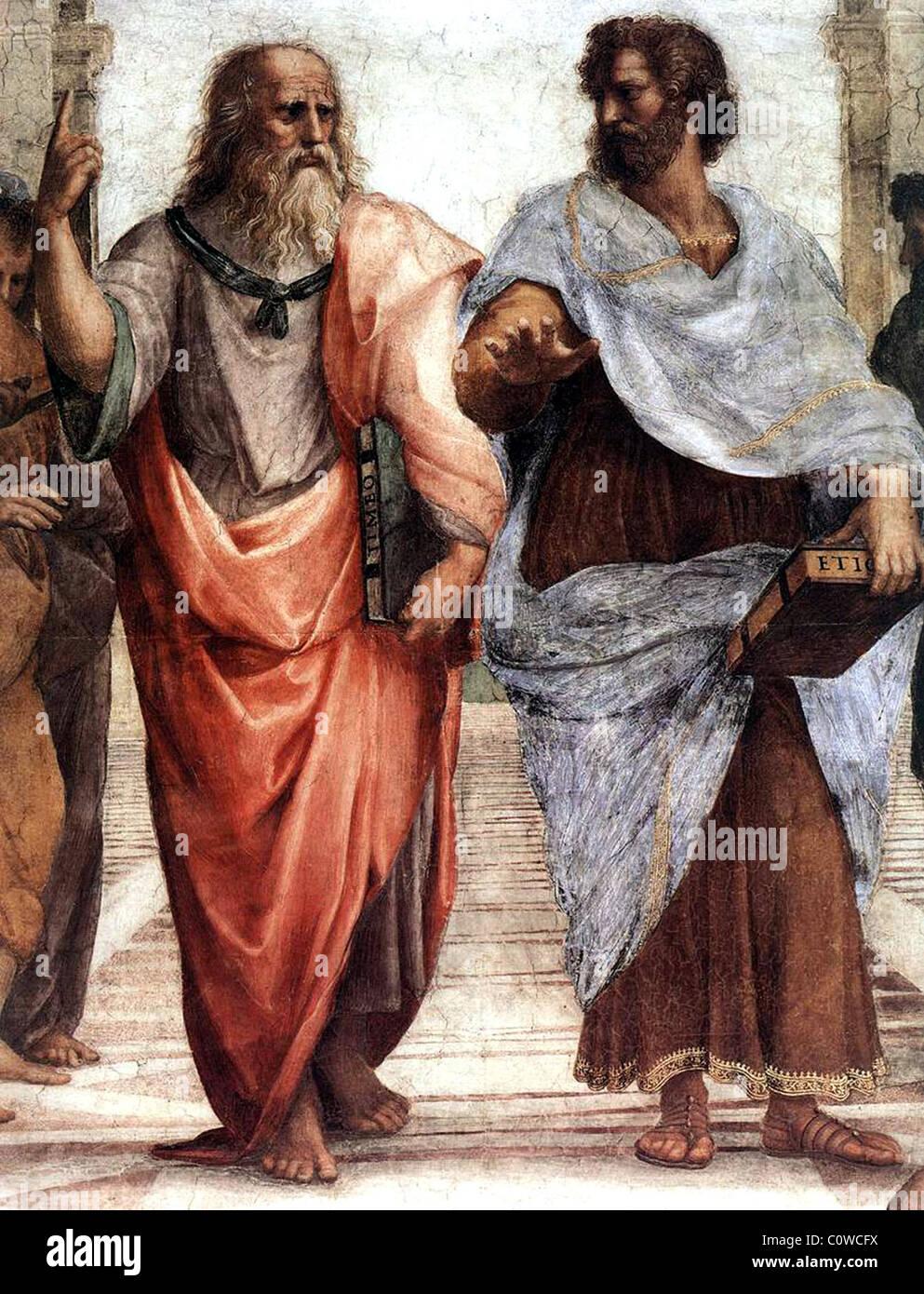 Plato (sinistra) e Aristotele. Foto Stock