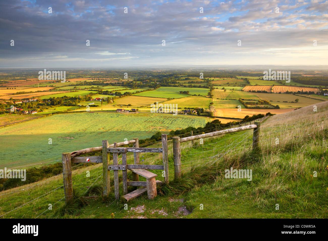Vista da demoni Dyke guardando verso nord oltre il paesaggio del Sussex Immagini Stock