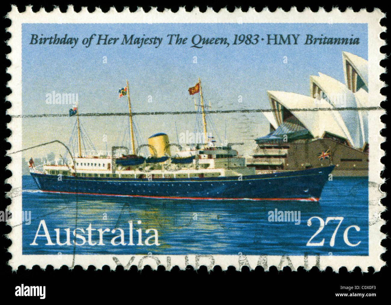 Timbro dall Australia per commemorare il compleanno della Regina 1983 Immagini Stock