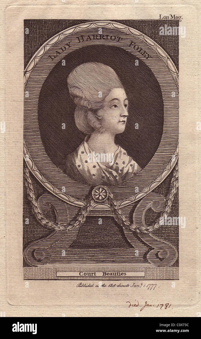 Signora harriot foley (d. 1781), nobildonna inglese del XVIII secolo. Immagini Stock