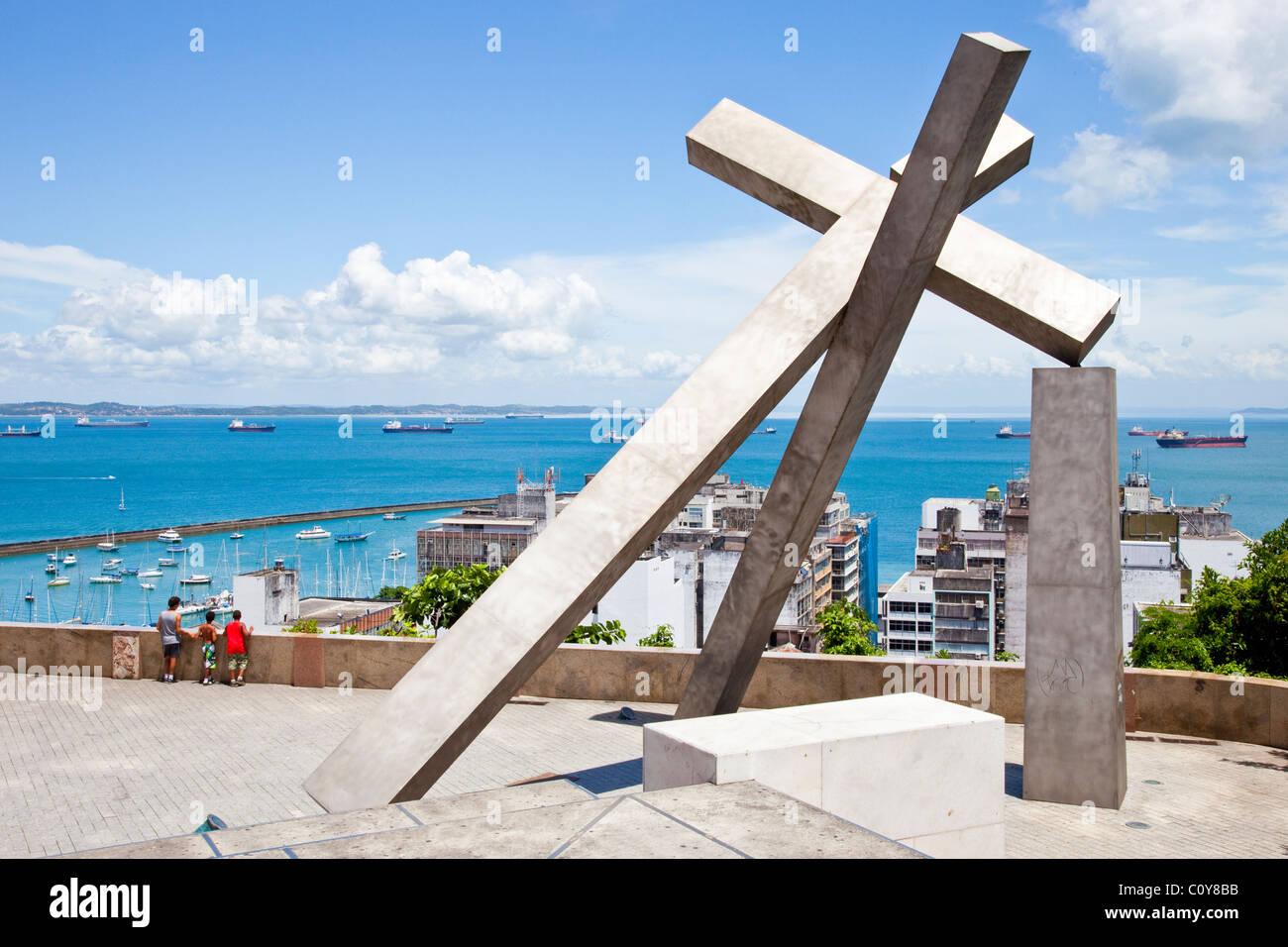 Largo da Cruz Quebrada, caduti Croce, Pelourinho, Salvador, Bahia, Brasile Immagini Stock