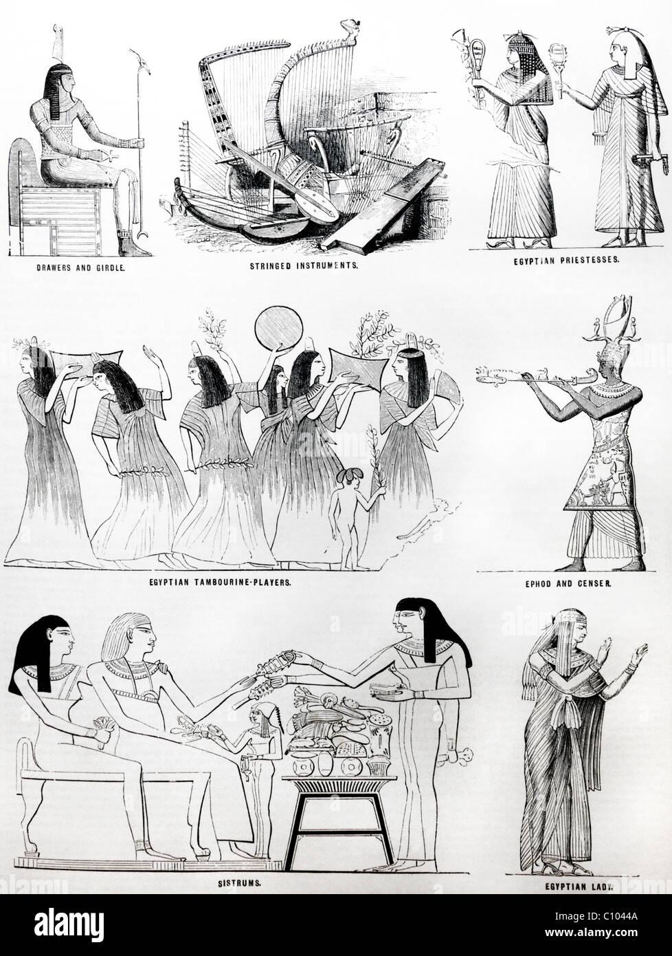 La Bibbia le illustrazioni degli egiziani Immagini Stock