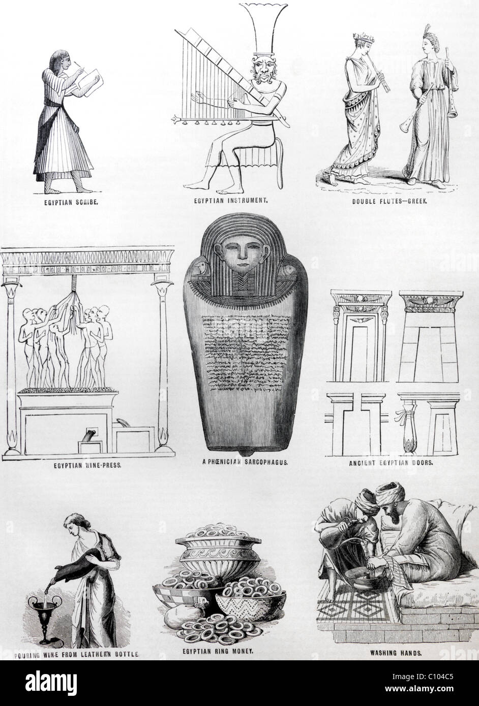 La Bibbia illustrazioni delle tombe degli Egiziani e sarcofago Pheonician Immagini Stock
