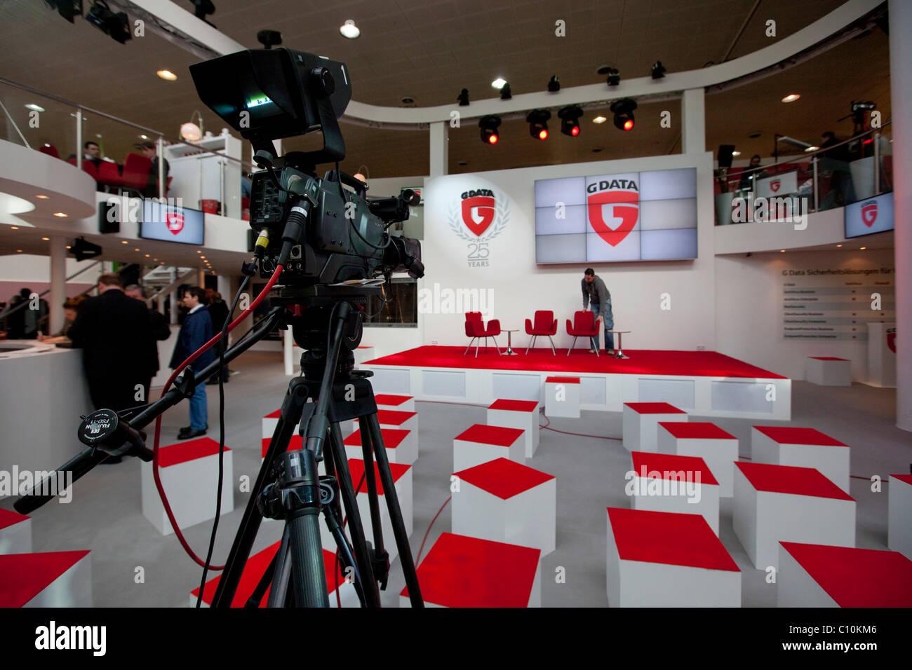 Preparati per una presentazione da GDATA, software di sicurezza Internationale Computermesse CEBIT international Foto Stock