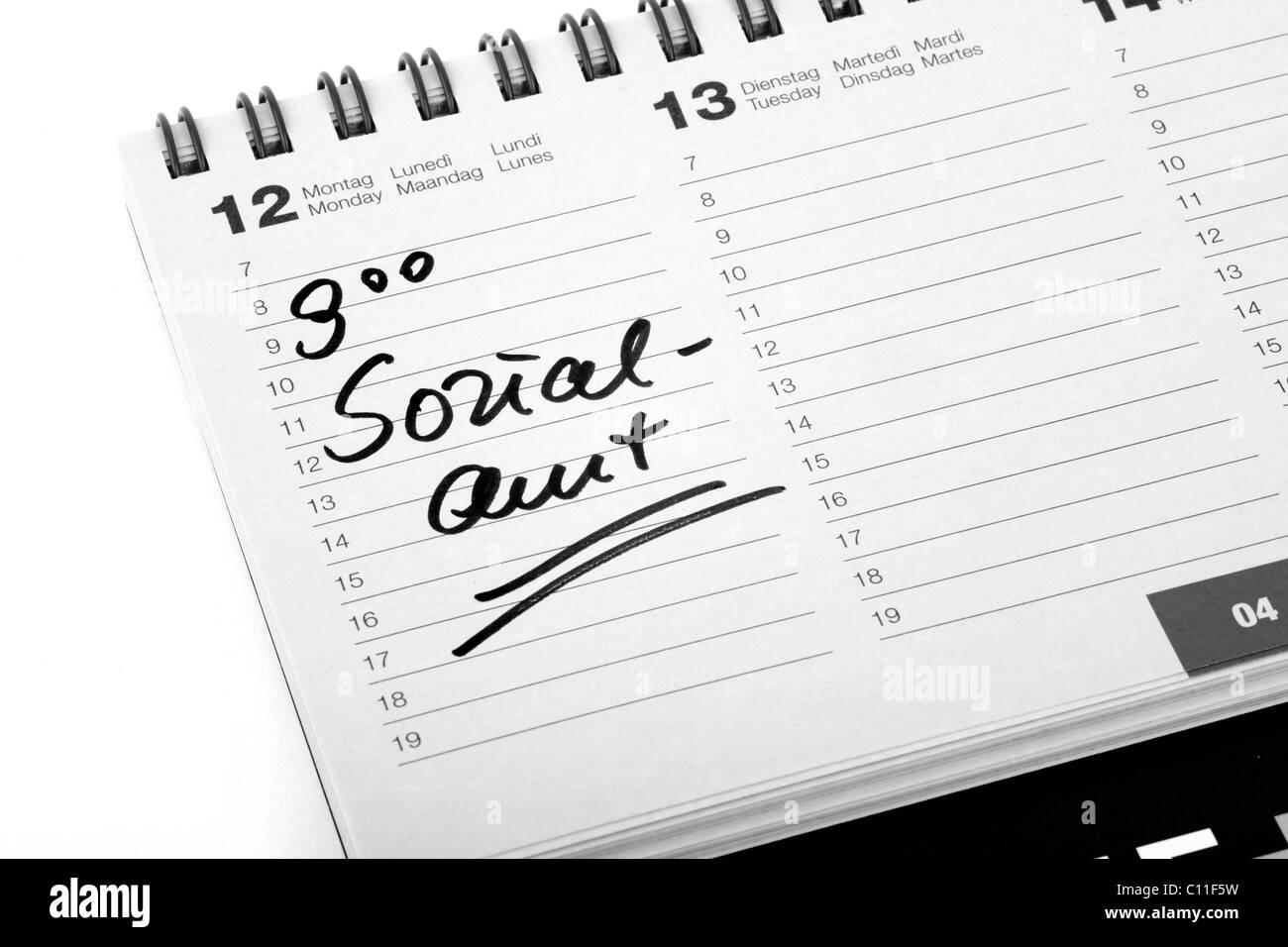 """Voce """"ozialamt', Tedesco per la previdenza sociale, in un diario di viaggio Immagini Stock"""