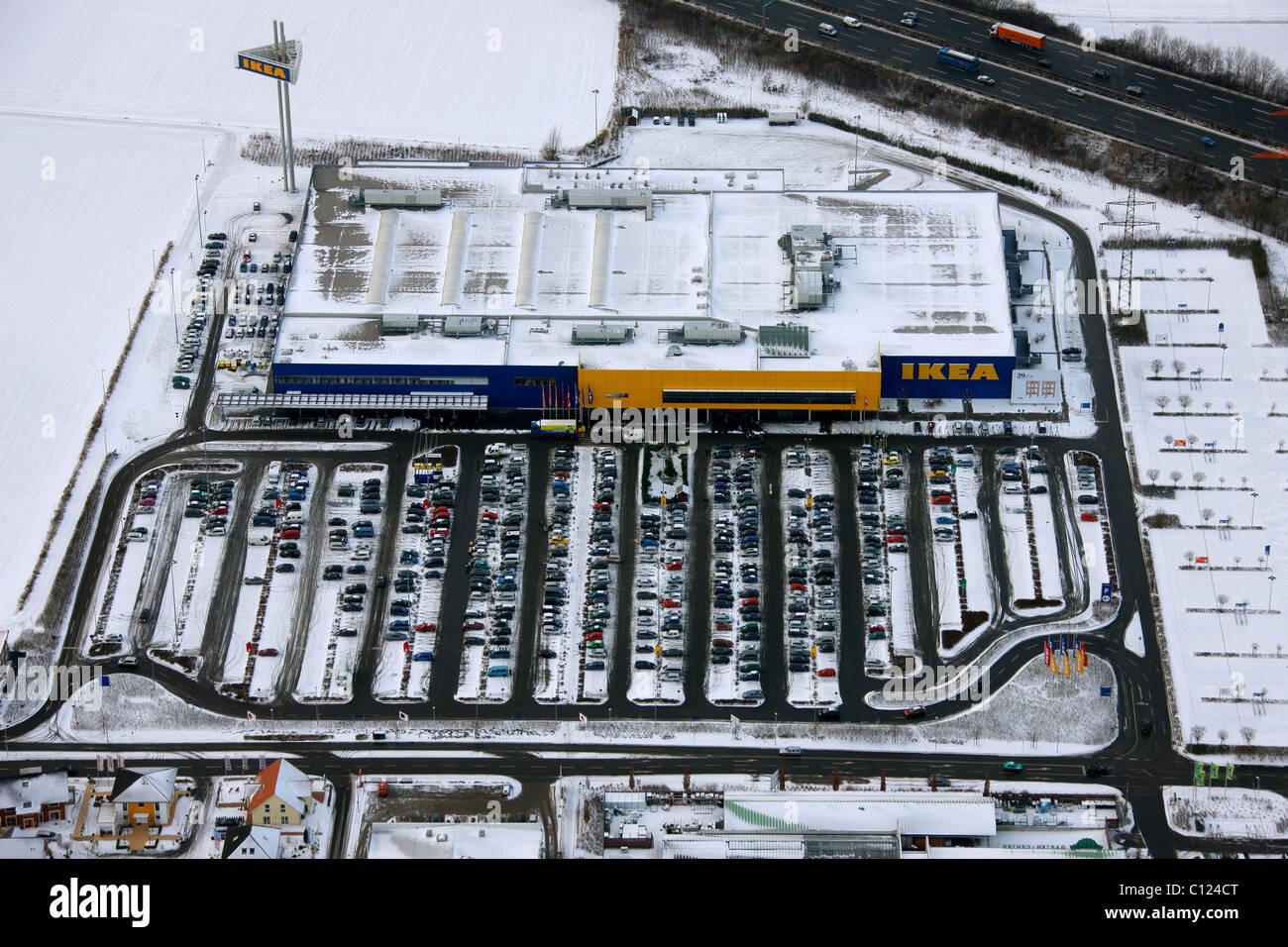 Vista aerea, parcheggio nella neve, negozio mobili IKEA Kamen, Ruhrgebiet regione Renania settentrionale-Vestfalia, Immagini Stock