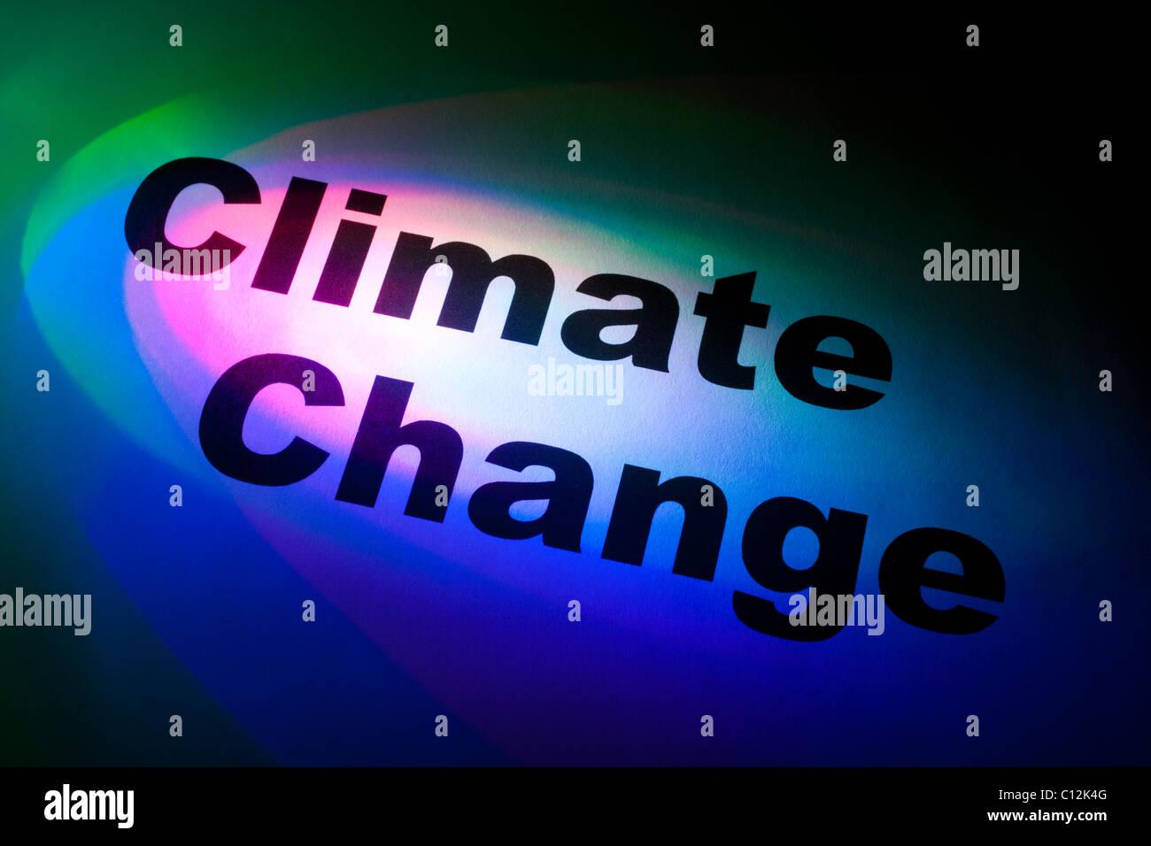 Colore luce e parola di cambiamenti climatici per lo sfondo Immagini Stock