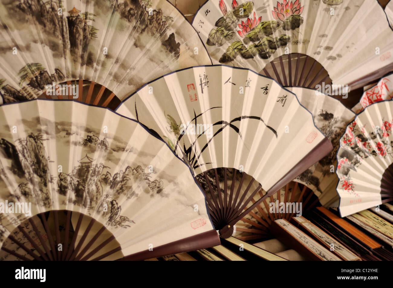Dipinto di fan cinesi Immagini Stock