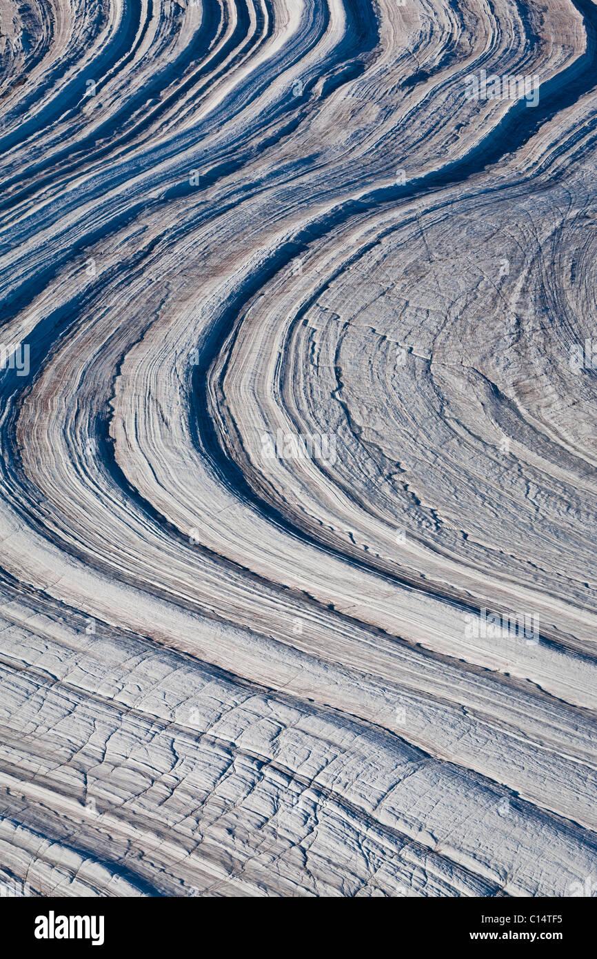 Ghiacciaio astratto paesaggio, Isola Baffin, Canada. Immagini Stock