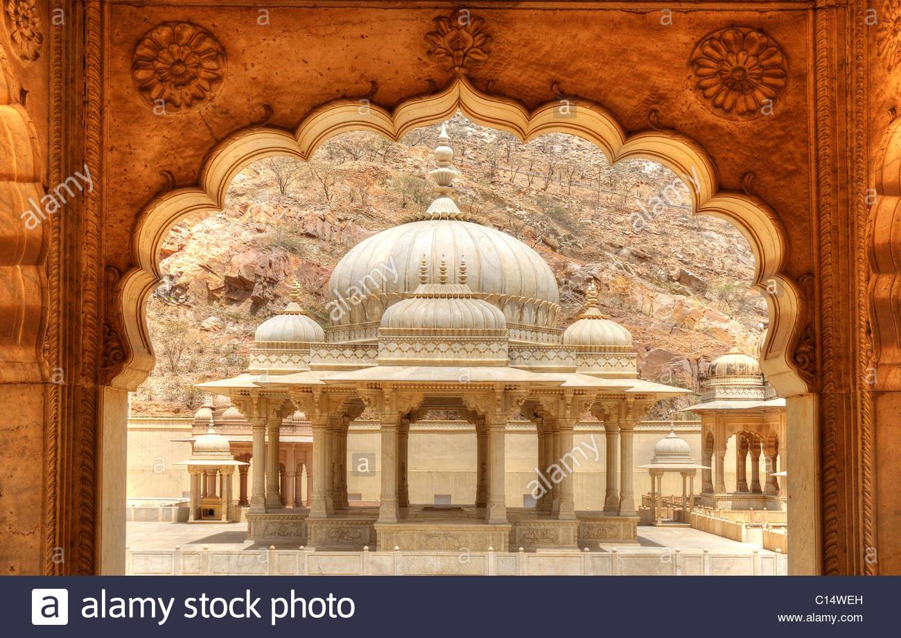 Il Gator ki Chatri mausoleo vicino a Jaipur, India Immagini Stock