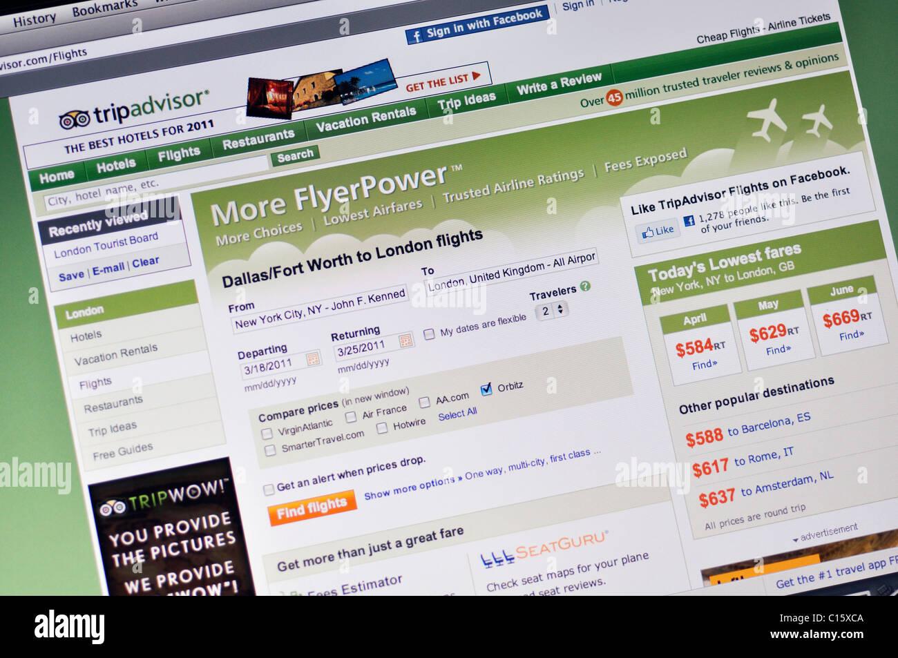 Trip Advisor sito web Immagini Stock