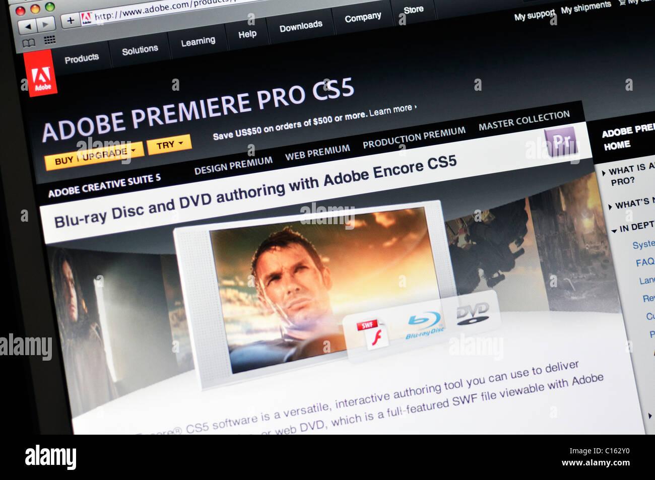 Adobe Premiere Pro CS5 sito web Immagini Stock
