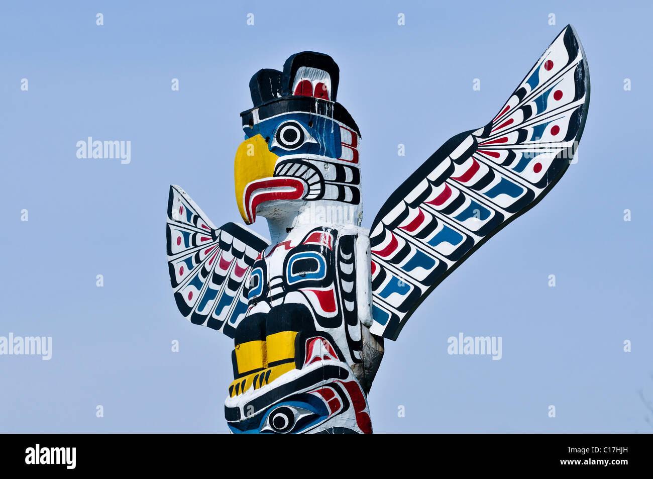 Totem indiani, totem pole di Stanley Park, Vancouver, British Columbia, Canada, America del Nord Immagini Stock