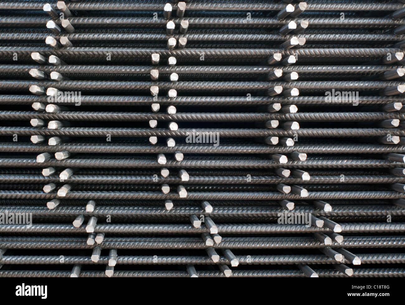 Il rinforzo del cemento armato di maglia di acciaio Immagini Stock