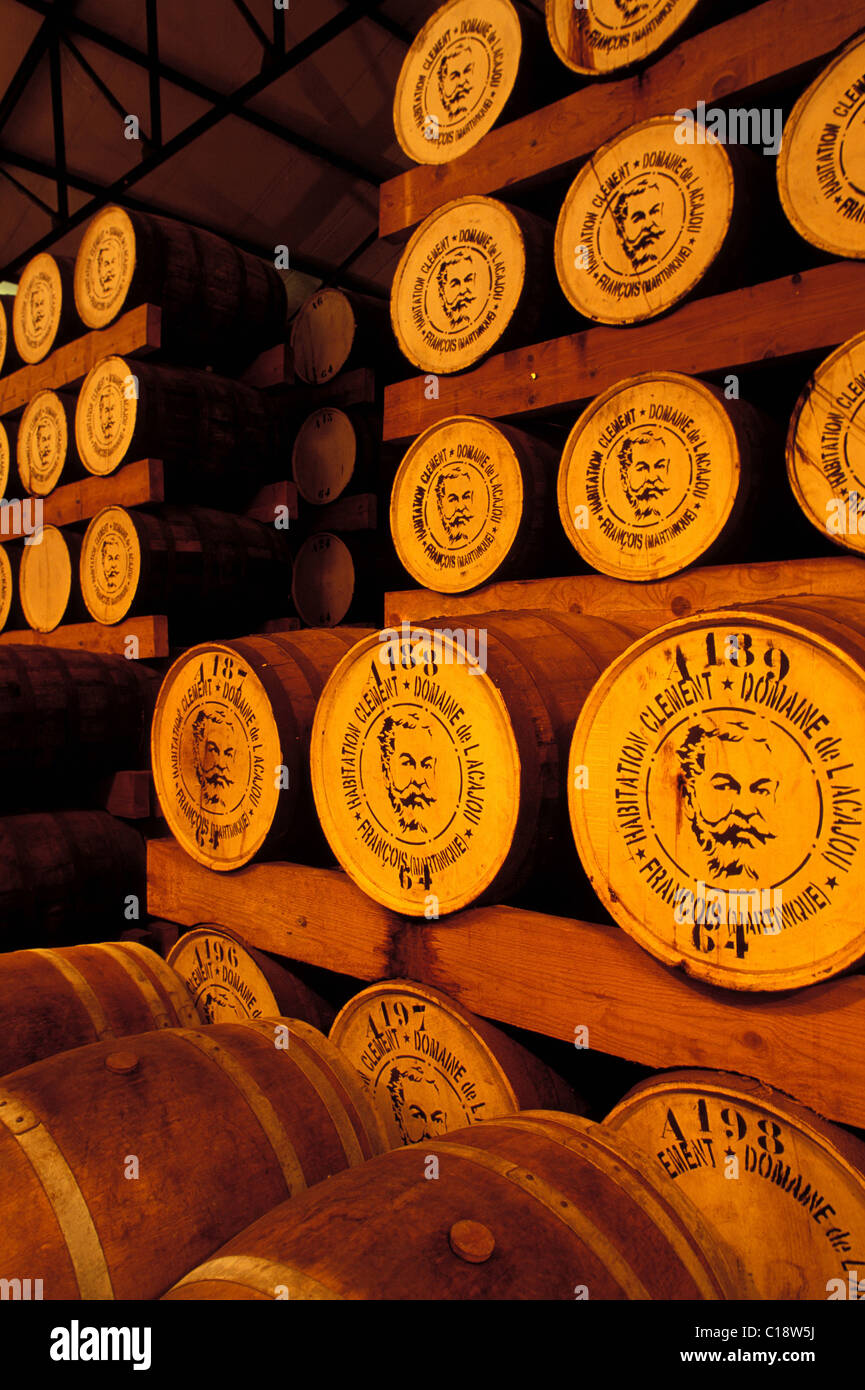 Francia, Martinica, Le François, dimora Clement distillery, rhum cantina di invecchiamento Immagini Stock