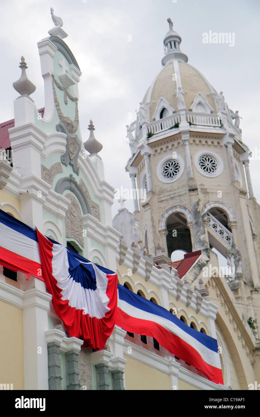Città di Panama Panama Casco Viejo San Felipe Plaza Bolivar di restauro storico Bolivar conservazione Palace Immagini Stock