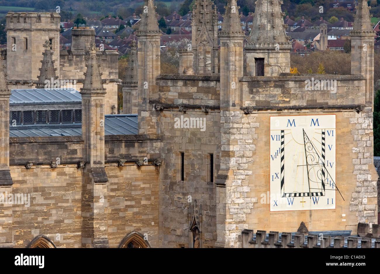 Meridiana del'All Souls College di Oxford, Oxfordshire, England, Regno Unito Immagini Stock