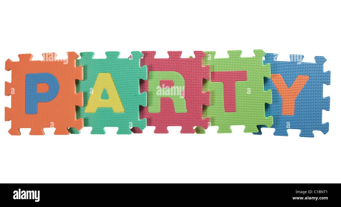 Blocchi di alfabeto formante la parola partito isolato su sfondo bianco Immagini Stock