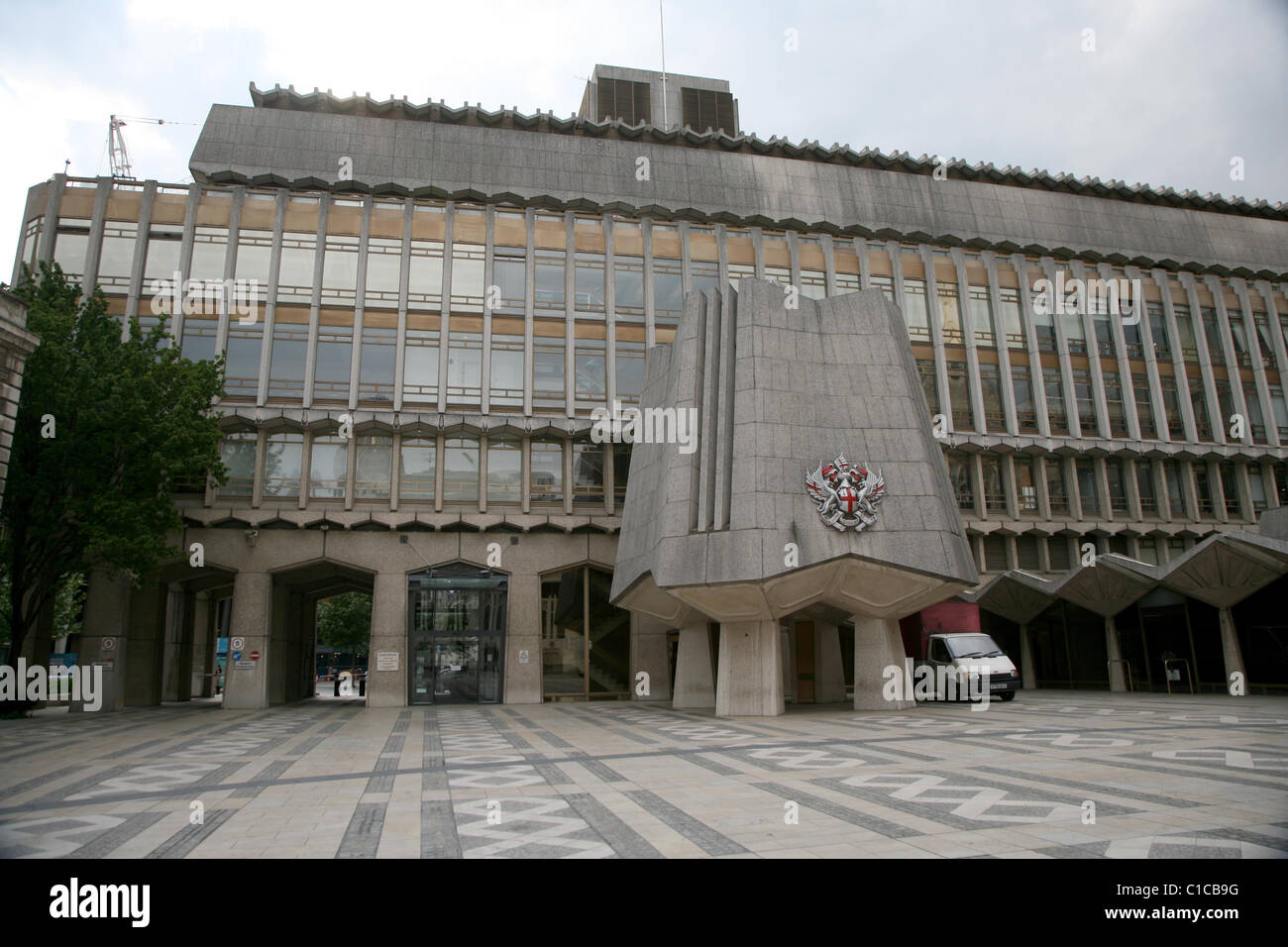 Vista generale gv di Guildhall in Barbican, Londra, Inghilterra. Immagini Stock