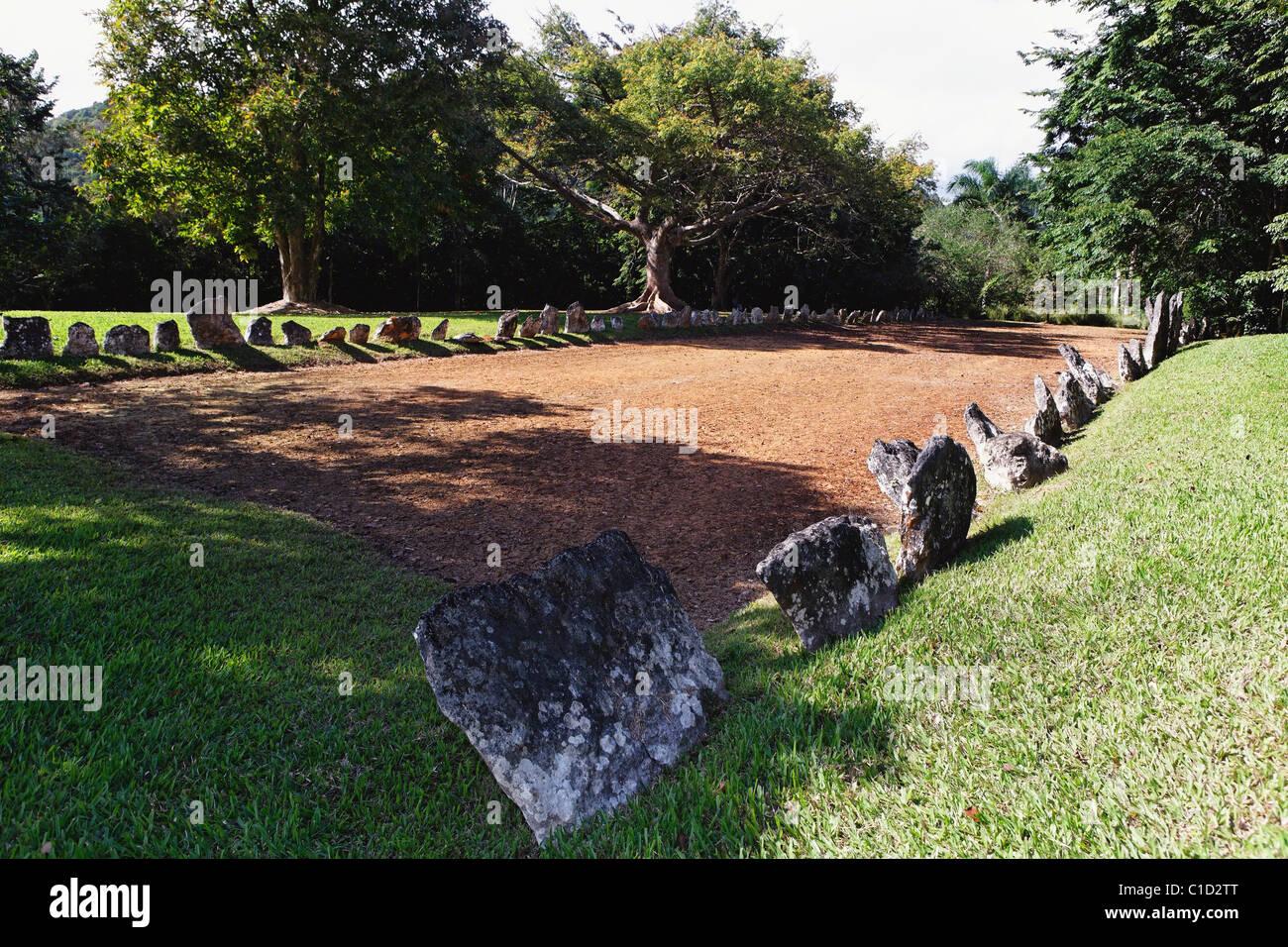 Caguana cerimoniale di palla, Utuado, Puerto Rico Immagini Stock