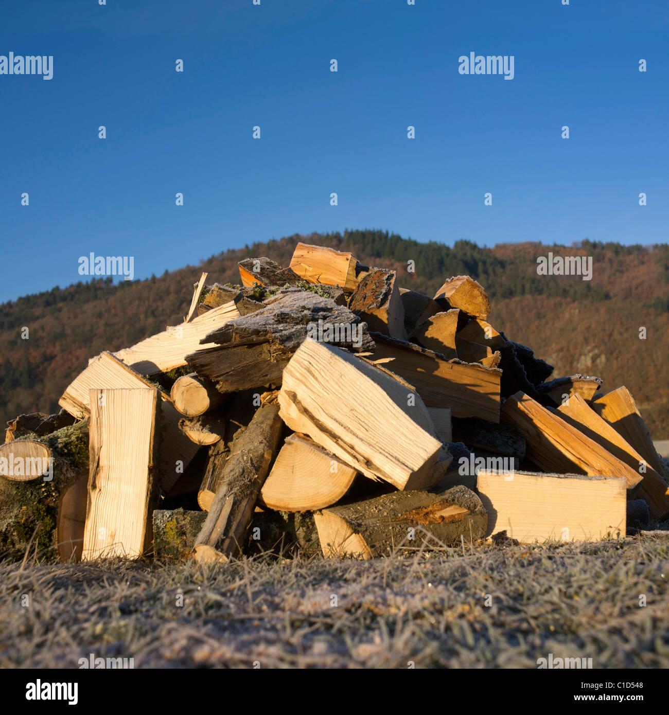 Pila di ciocchi di legna all'esterno Immagini Stock