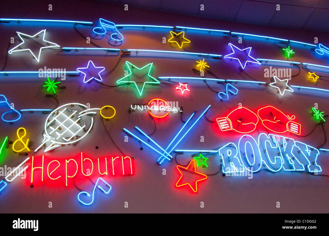 Il neon movie star sign Foto Stock