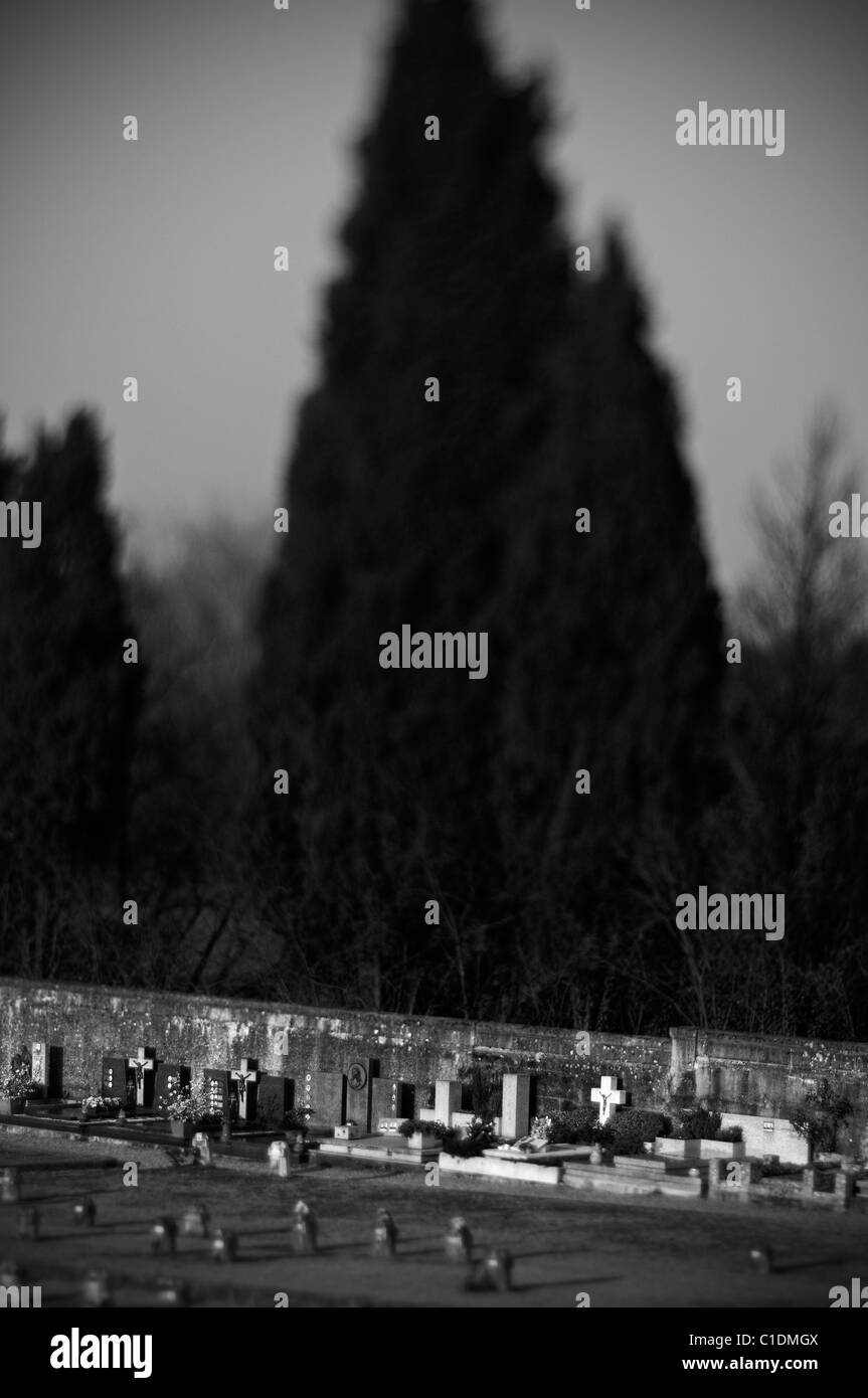 Crespi d'adda - Vista del cimitero Immagini Stock