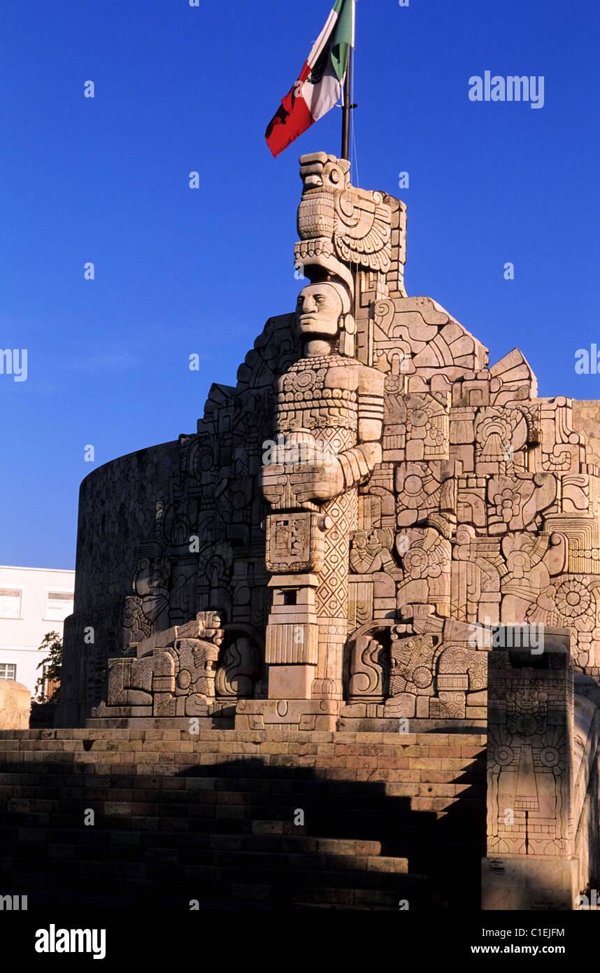 Messico, Yucatan Stato, Merida, Monumento a la Bandera (monumento alla bandiera) Immagini Stock