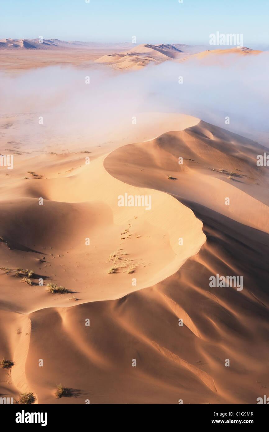 Vista aerea di dune di sabbia del deserto namibiano Immagini Stock