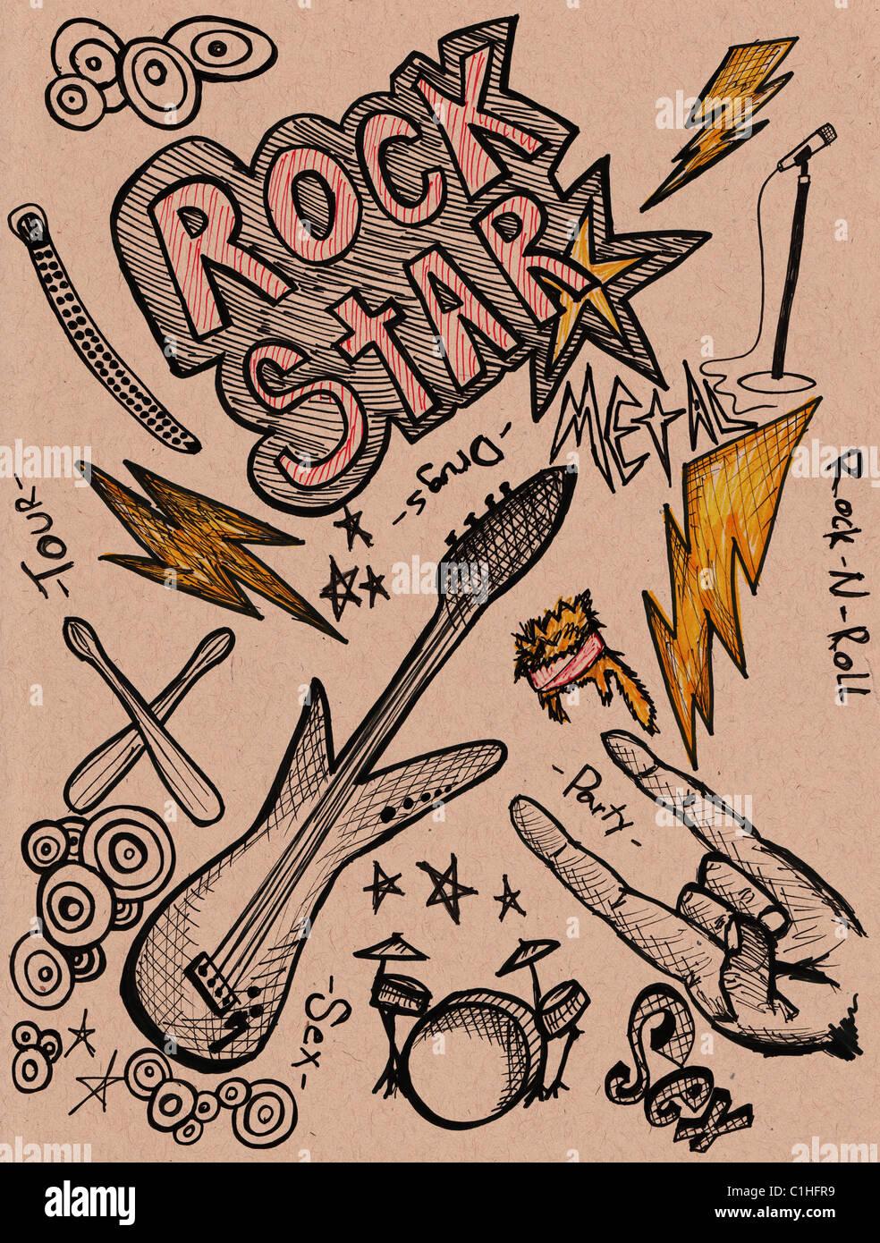 Disegnata a mano scarabocchi gli elementi di design scetch gli scarabocchi disegno Foto Stock