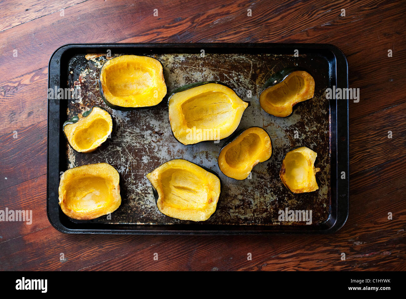 Zucca cotta al forno, Vancouver, British Columbia, Canada Foto Stock