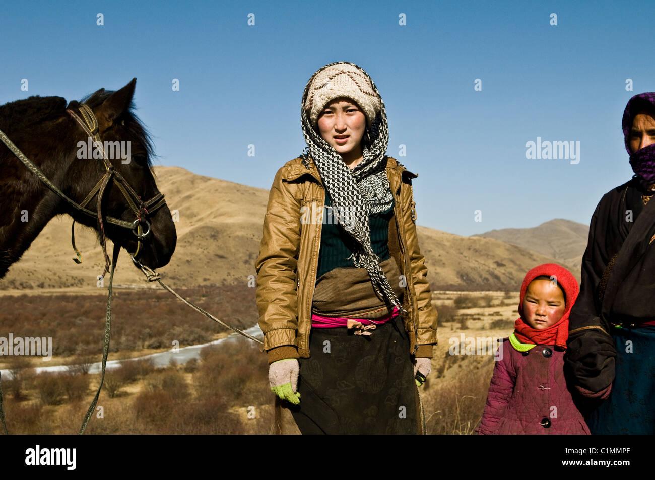 Volti del Tibet. Immagini Stock