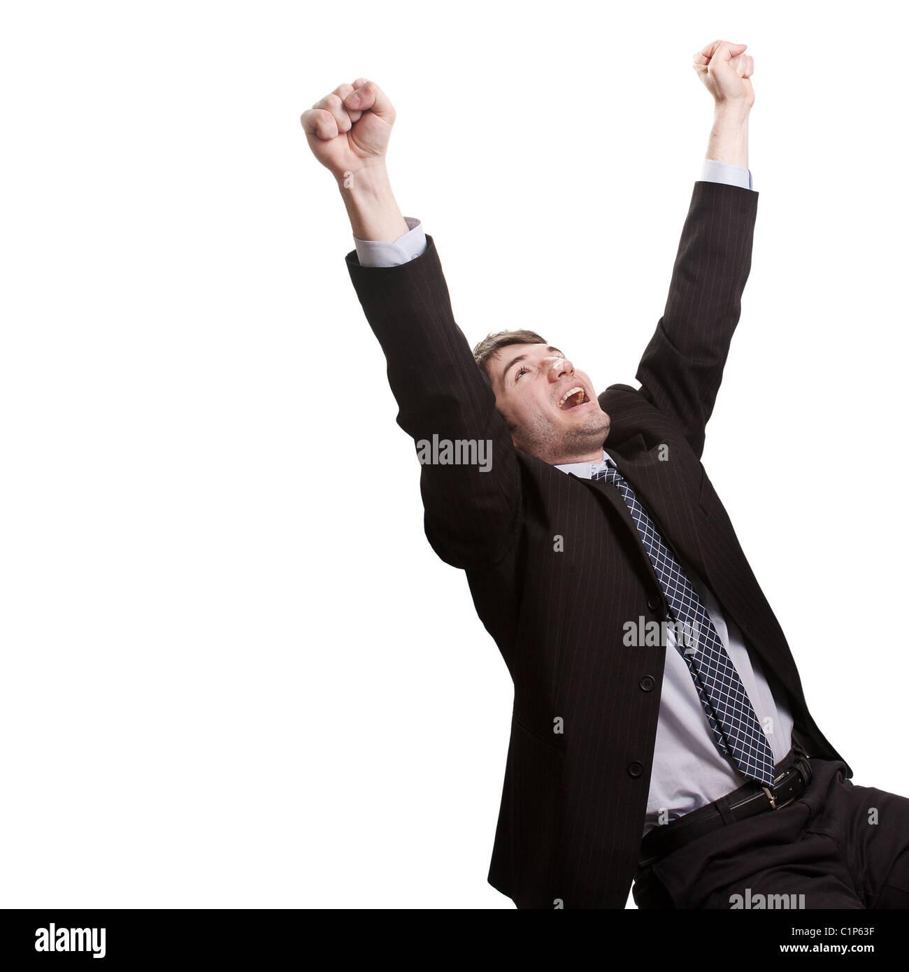 Vincere e concetto di successo - vittorioso giovane impreditore Foto Stock