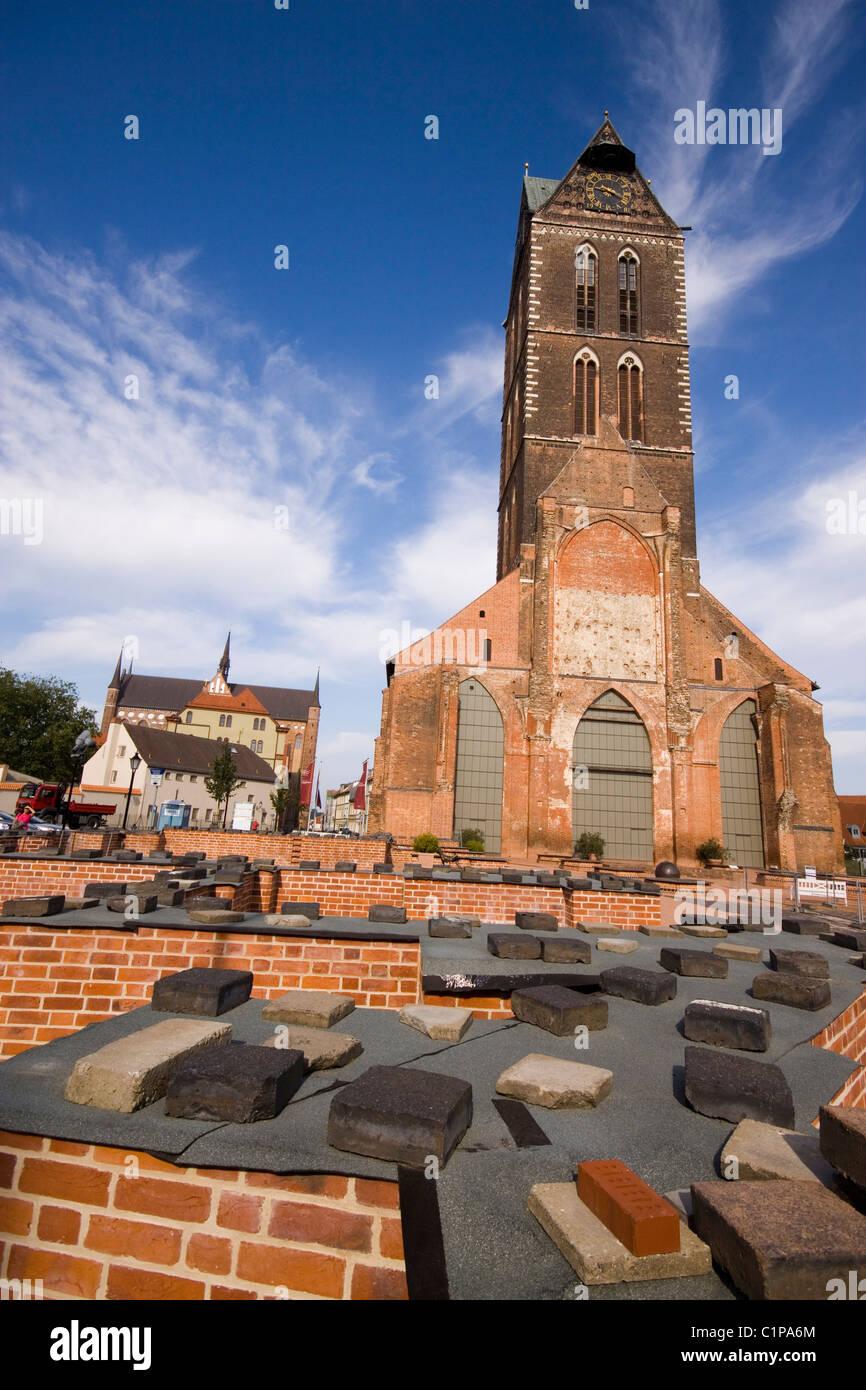 Germania, Wismar, Dom, facciata in mattone Immagini Stock