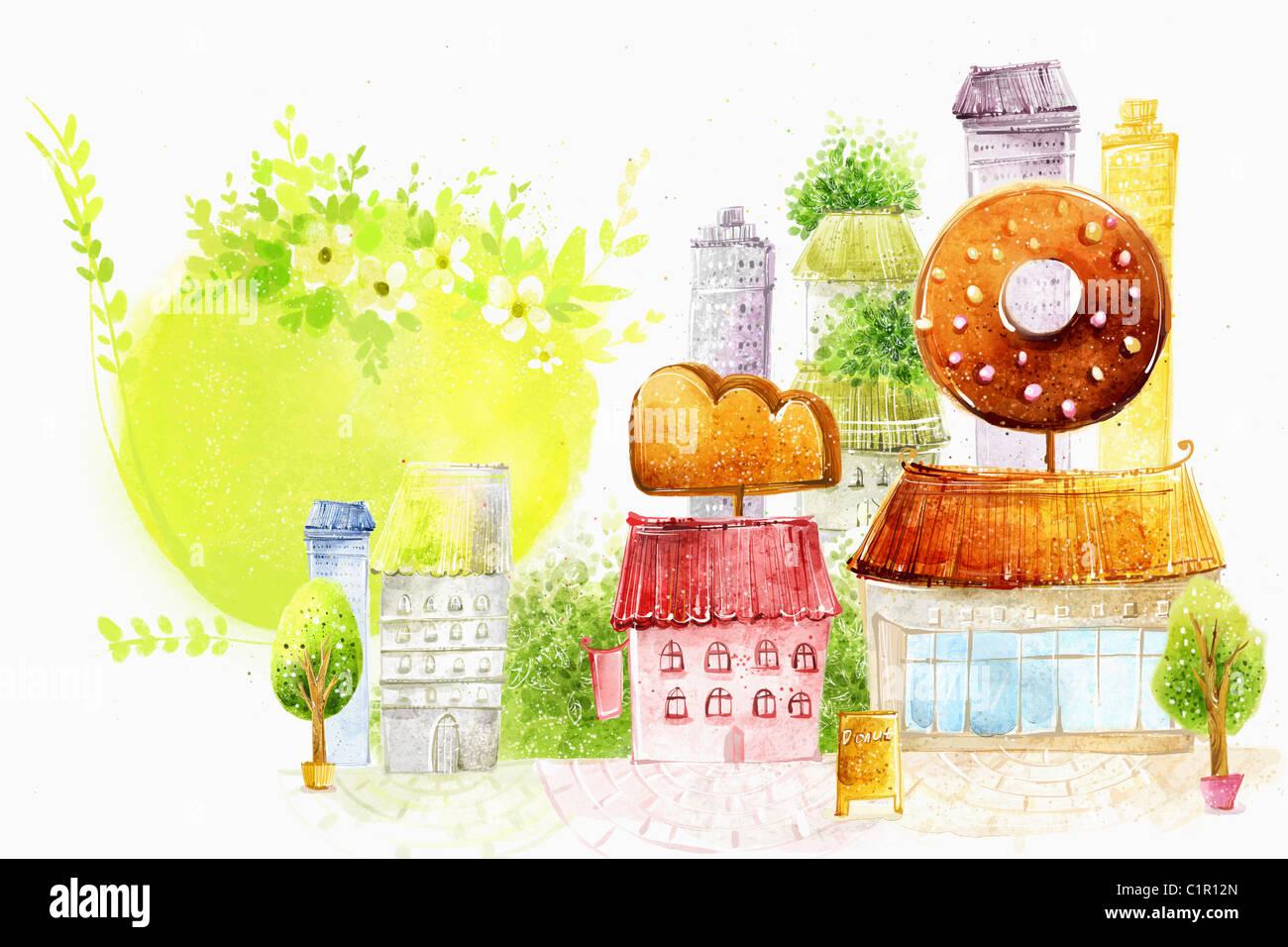 La molla scena del villaggio nebuloso Immagini Stock