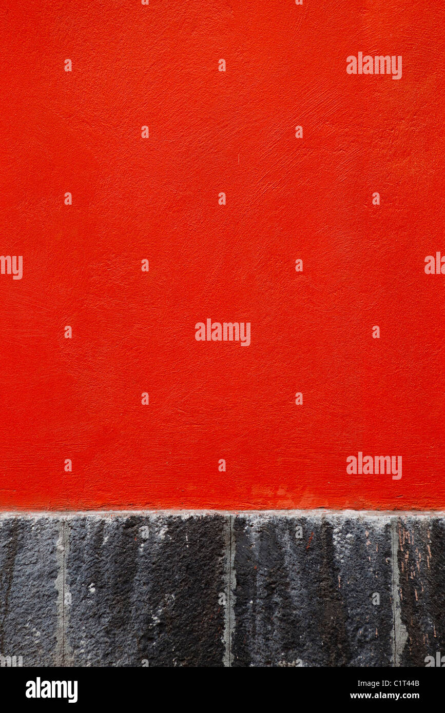 Rosso parete in stucco, close-up Foto Stock
